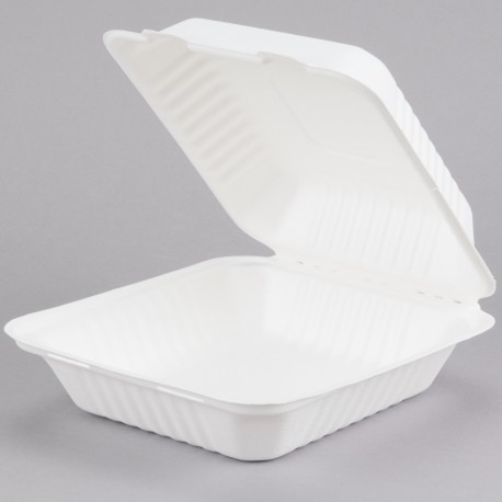"""8"""" x 8"""" x 3"""" Biodegradable, Compostable 1 Compartment Takeout Box - 200/Case"""