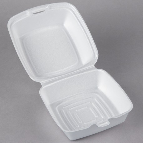 """6"""" x 6"""" x 3"""" White Foam Hinged Lid Container - 500/Case"""