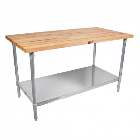 "36''x24""x 1-1/2"" Thick Maple Top Work Table Galvanized Base and Shelf"