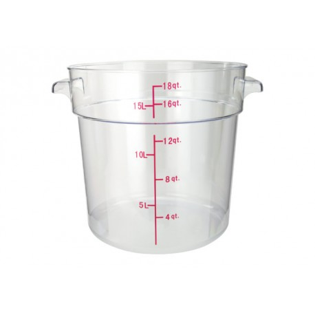18 Quart Round Storage Container, Clear Polycarbonate