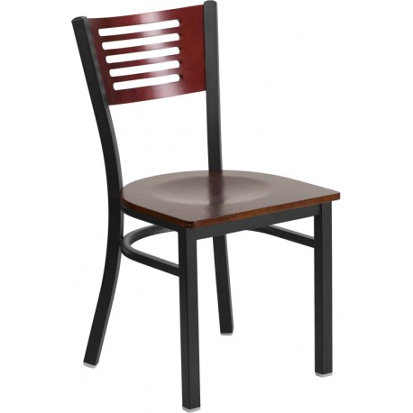 HERCULES Series Black Slat Back Metal Restaurant Chair - Mahogany Wood Back & Seat