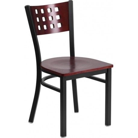 HERCULES Series Black 4 Square Back Metal Restaurant Chair - Mahogany Wood Back, Black Vinyl Seat